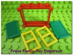 Lego Red Window Frame 1 X 4 X 3 Stud Yellow Panes And Green Shutter Panels Euc
