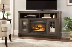 Large 54 Electric Fireplace Tv Media Stand Dark Espresso Realistic Flame Heater