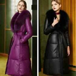 High-end Women Fox Fur Collar Slim Coat Long Real Leather Warm Thick Down Jacket