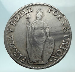 1832 Peru Antique Libery Huge Large Silver South America 8 Reales Coin I82150