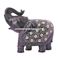 Black Marble Standing Elephant Figurine Mother Of Pearl Inlay Stone Decor E39