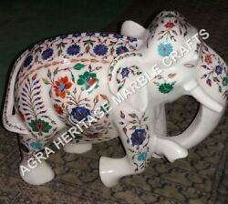 15 White Marble Elephant Stone Statue Multi Marquetry Floral Inlay Decor H3470