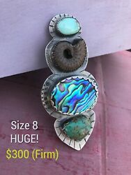 Size 8 Sterling Silver Turquoise Ammonite Fossil Abalone Shell Huge Big Ring