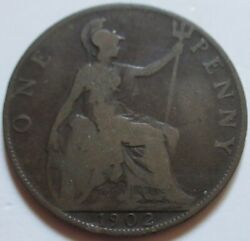1902 Great Britain One Large Penny Coin. Better Grade Uk 1 Cent Rj329