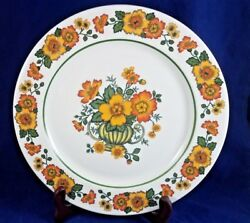 Villeroy And Boch Cottage Yelloworange Flowers Green Band Dinner Plate 10 1/2