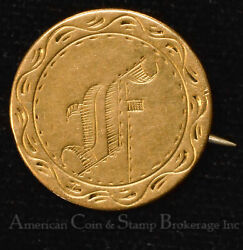 1840 Love Token Engraved Old English F 5 Five Dollar Gold Coin Pin