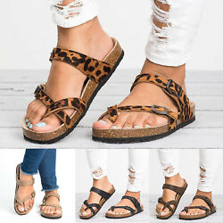Womens Flip Flops Cork Footbed Sandals Summer Casual Slippers Strappy Shoes Size