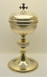 + Beautiful Antique French Silver Ciborium + Made In France + Chalice Co Cu912