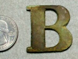 Civil War Relic Heavy Letter B Used On Buckle Or Cartridge Box/ Central Va C.s