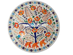 18 White Marble Plate Inlay Lapis Hakik Elephant Floral Collectible Decor H3505