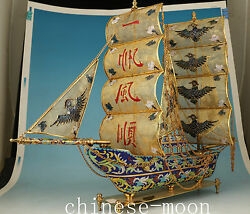 1.8kg Chinese Copper Cloisonne Sailing Boat Statue Figure Collectable