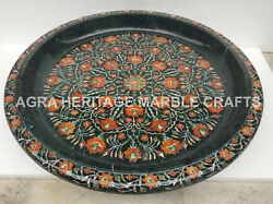 20 Black Marble Round Serving Bowl Inlay Floral Arts Kitchen Home Decor H5760b