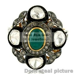 Emerald And Polki Pave Diamond Jewelry 925 Sterling Silver Victorian Ring O50