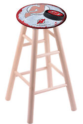 Maple Counter Stool In Natural Finish With New Jersey Devils Seat By The Holl...