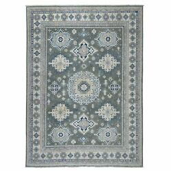 8and0399x12and0394 Gray Vintage Look Kazak Tribal Design 100 Wool Hand Made Rug R52769