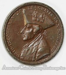 Germany 1786 46mm Prussia King Frederick Ii Coppered Lead Medal Original