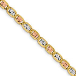 4.75mm 14k Gold Tri-color Solid Fancy Pave Anchor Chain Necklace
