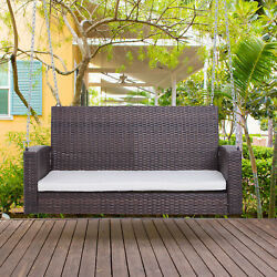2-person Outdoor Wicker Porch Swing Chair Garden Hanging Bench Seat