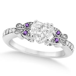 Womenand039s Heart Diamond And Amethyst Butterfly Engagement Ring 14k W Gold 0.75ct