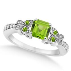 Preset Butterfly Peridot And Diamond Engagement Ring 14k White Gold 1.11ct