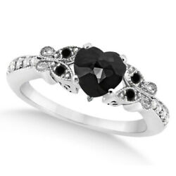 Preset Butterfly White And Black Diamond Engagement Ring 14k White Gold 1.27