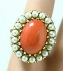 Antique 14k Yellow Gold Natural Coral Cocktail Ring W/3mm Pearl Halo Size 5.25