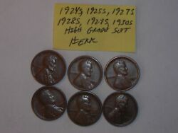 Wheat Penny Lot 1924-s,1925-s,1927-s,1928-s,1929-s,1930s Set Of 6 Lincoln Cents