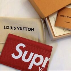 Supreme X Lv Leather Red Wallet