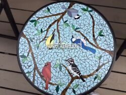 Coffee Marble Table Top Birds Cafeteria Arts Rare Inlay Kitchen Home Decor H3977