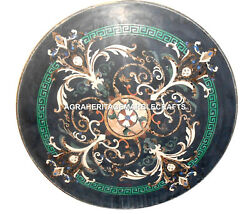 Black Marble Coffee Round Table Rare Inlay Mosaic Gemstone Halloween Decor H2750