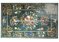 Green Marble Dining Table Top Rare Inlaid Occasion Decor Birds Fruits Arts H479