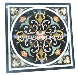 Black Marble Square Coffee Side Table Top Inlay Handmade Art Living Decor H2424