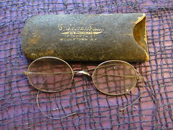 Circa Early 1900's Antique Youth Young Adult Spectacles with Saddle Bridge +Case