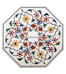 White Marble Coffee Table Top Hakik Inlay Marquetry Arts Best Decorative H492