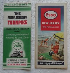 New Jersey Gas Station Maps - Esso And Cities Service Circa 1950and039s