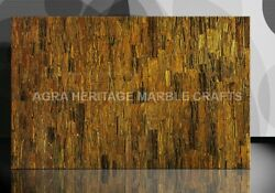 4and039x2and039 Tiger Eye Gold Inlaid Marble Living Room Dining Table Top Patio Decor E234