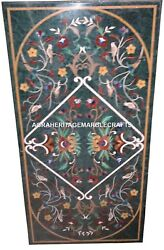 Green Marble Dining Table Top Handmade Inlay Marquetry Gem Hallway Decor H2496