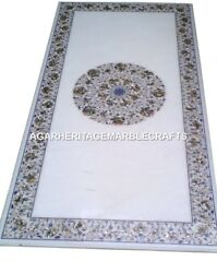 Marble Round Dining Room Table Top Pauashell Micro Mosaic Inlaid Art Decor H1992