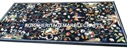 Black Marble Dining Table Top Marquetry Work Arts Inlaid Decor Furniture H2911