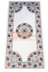Exclusive Marble Dining Top Table Lapis Carnelian Inlay Restaurant Decor E130