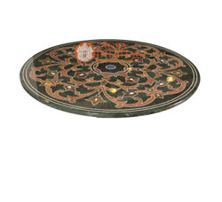 36 Green Marble Round Dining Table Top Mosaic Inlay Furniture Home Decor H5222