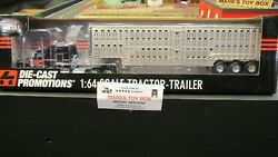 Dcp33775 Black Kw W900 Semi Cab Truck And Livestock Cattle Pot Trailer 164/pl