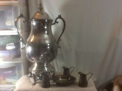 Vtg Collectible 7 Pc Silver Plate 22 Coffee Server Drip Bowl And 3 Creamer Pitche