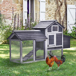 PawHut 59quot; Wooden Outdoor Chicken Coop Hen House with Nesting Box and Run