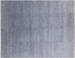 8and039 X 10and039 Wool And Silk Contemporary Hand Knotted Area Rug - Q3867