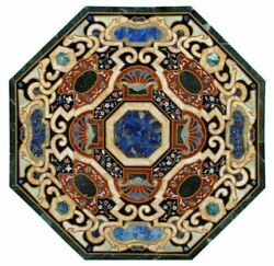 48 Marble Coffee Table Top Pietra Dura Marquetry Inlay Handcrafted Work