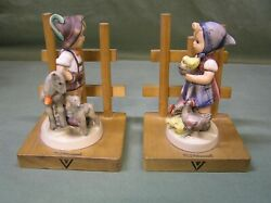Vintage German Hummel Wooden Bookends Boy / Sheep Girl / Chicks And Roosters