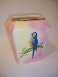 Antique Harker 1840 Pottery Large Porcelain Parrot Vase/pink And Yellow Rare