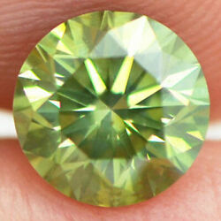 Loose Green Diamond Round Shaped Fancy Color 1.51 Ct Vs2 Natural Enhanced Real