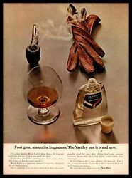 1964 Yardley Black Label Aftershave Leather Driving Gloves Tobacco Pipe Print Ad